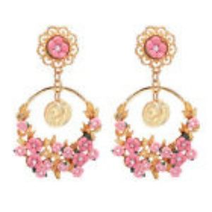 Vintage Exaggerated Flower Circle Earrings